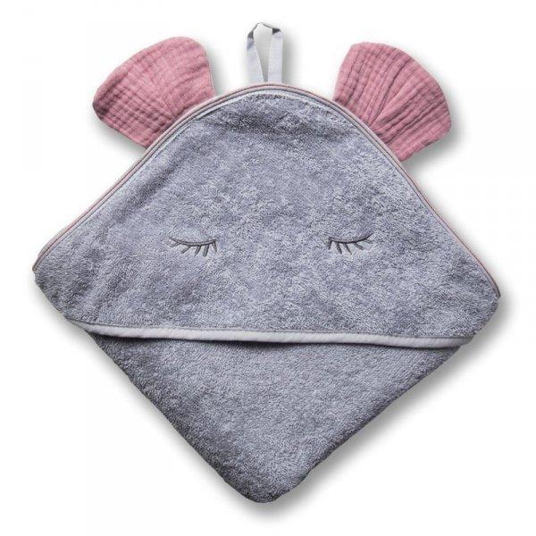 Hi Little One - Ręcznik z kapturkiem 100 x 100 MOUSE hooded bath towel Baby Pink