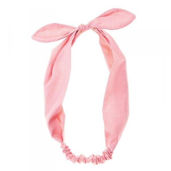 Opaska do włosów - różowa kokarda
