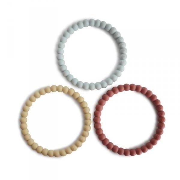 Silikonowe bransoletki gryzaki PERŁA Mellow Terracotta Periwinkle - Mushie -3szt.