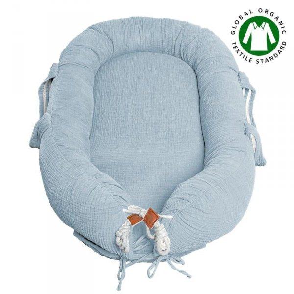 Hi Little One - Kokon gniazdko dla Noworodka z oddychającego muślinu NEWBORN NEST BABY BLUE
