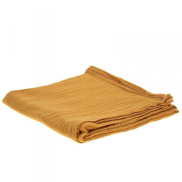 Oddychający otulacz muślinowy 100 / 100 w kolorze brązowym