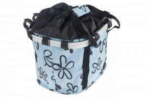 Koszyk na kierownicę z materiału HB-142 /KLIP/ 36x26x22 błękitna w kwiatki