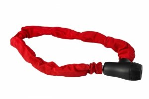 Zapięcie rowerowe na klucz ŁAŃCUCH 8x900mm w pokrowcu, czerwone