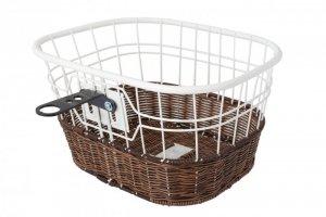 Koszyk rowerowy na kierownicę drut + imitacja wikliny, biało-brązowy