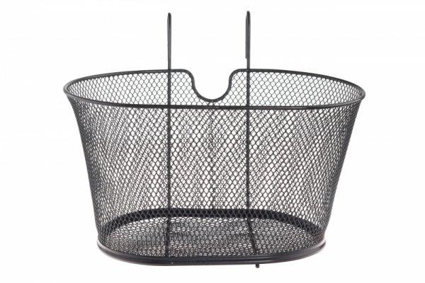 Koszyk na kierowncię siatka zawieszany, czarny owalny z wycięciem na wspornik