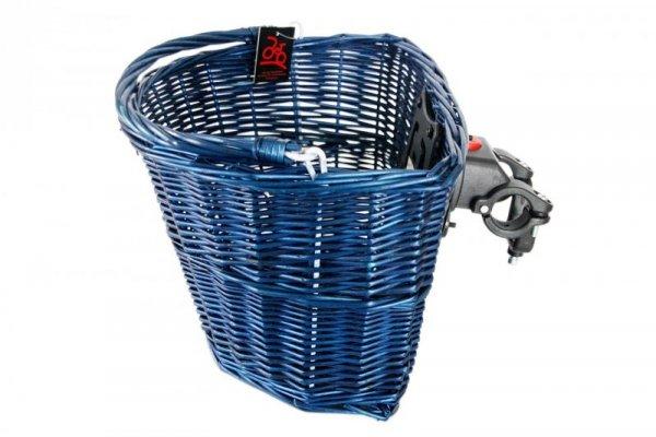 Koszyk na kierownicę wiklinowy na KLIP, granatowy