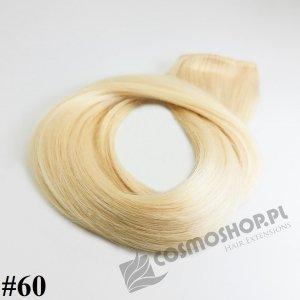 SZYKOWNY KOŃSKI OGON CLIP IN- BARDZO JASNY BLOND #60, 45 cm