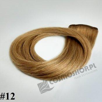 Zestaw Clip-in, długość 55 cm kolor #12 - NATURALNY CIEMNY BLOND 135g