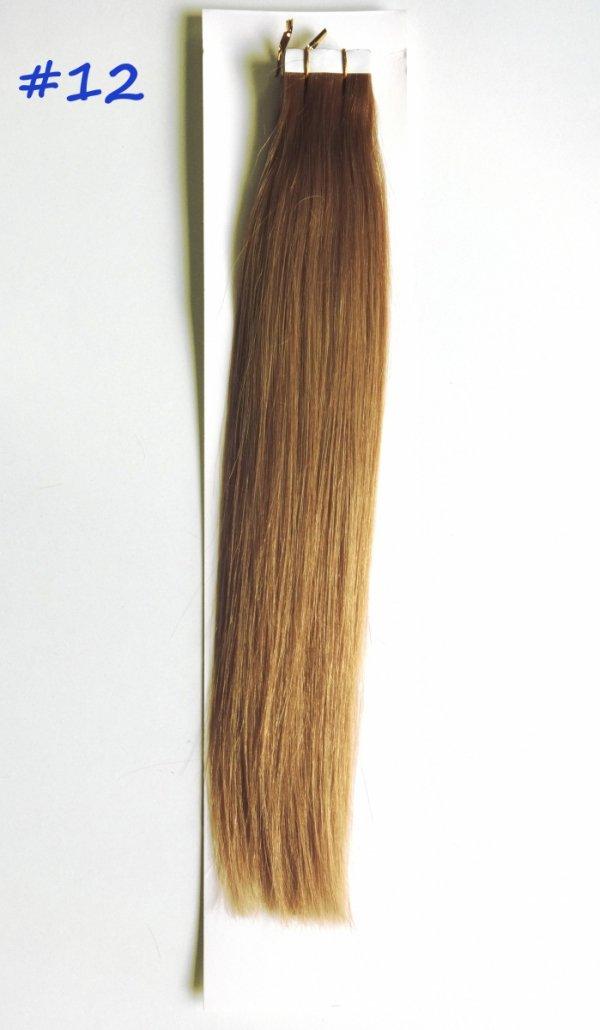 Zestaw Tape on, długość 40 cm, kolor #12- Naturalny ciemny blond