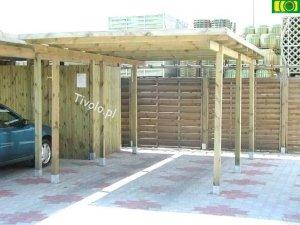 Drewniana wiata samochodowa CARPORT 540x320