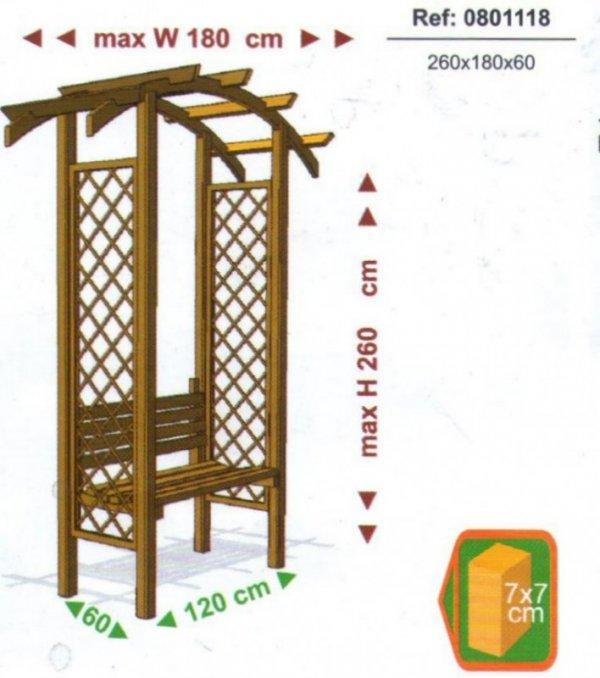 """Pergola drewniana z ławką """"Nordic Seat"""" 240x160x54"""