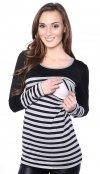 MijaCulture - 2 w 1 bluzka ciążowa i do karmienia w paski 4021/M39 czarny