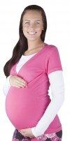 """Wygodna bluzka 2 w 1 ciążowa i do karmienia """"Mija"""" długi rękaw 9016 różowy/ biały"""