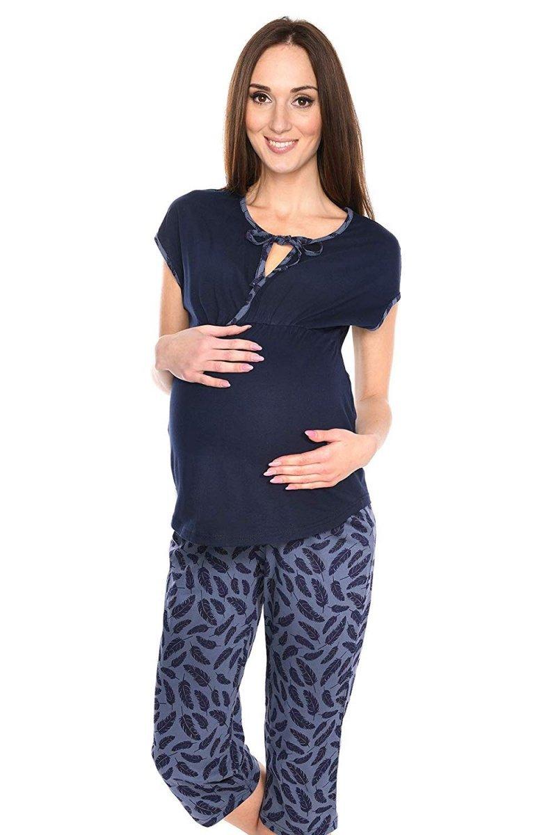 MijaCulture - piżama 3 w 1 ciążowa i do karmienia 4117/M77 granat