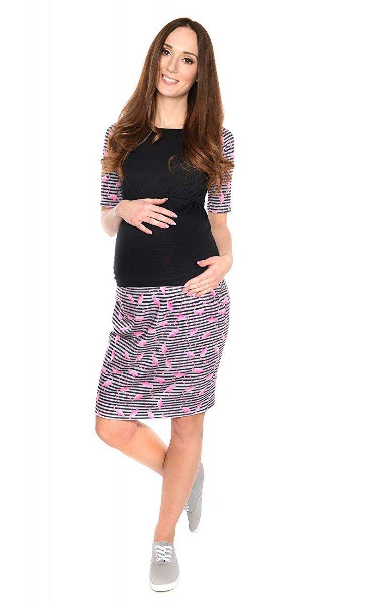 """Zjawiskowa spódnica dla kobiet w ciąży """"Gery"""" 7148 flamingo"""
