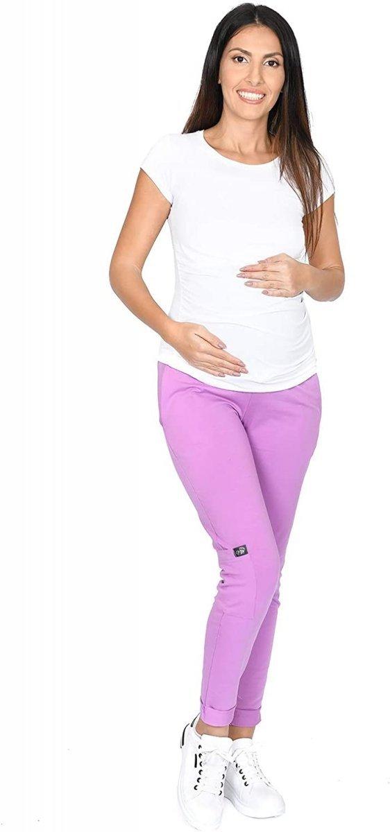MijaCulture Wygodne spodnie dresowe ciążowe ZOE M002 róż3