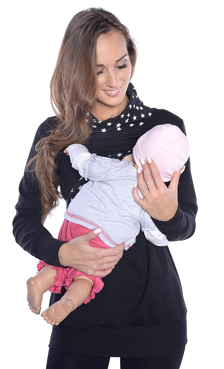 MijaCulture - 3 w1 bluza  ciążowa i do karmienia  4057/M49 czarny