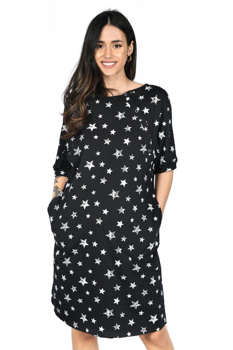 MijaCulture - koszula do porodu 4128 M96 czarny/gwiazdy