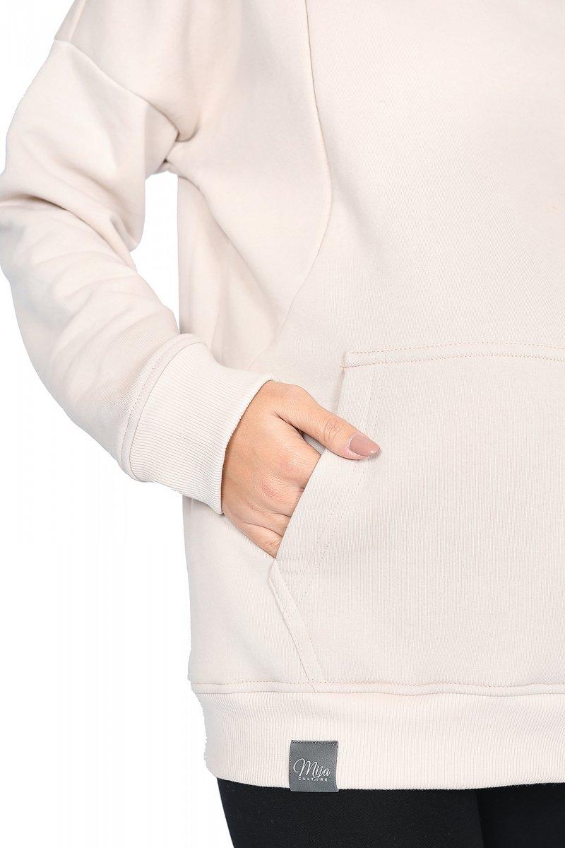 """MijaCulture - 3 w 1 ciepła bluza ciążowa i do karmienia z kapturem """"Molly """" M001 beż"""