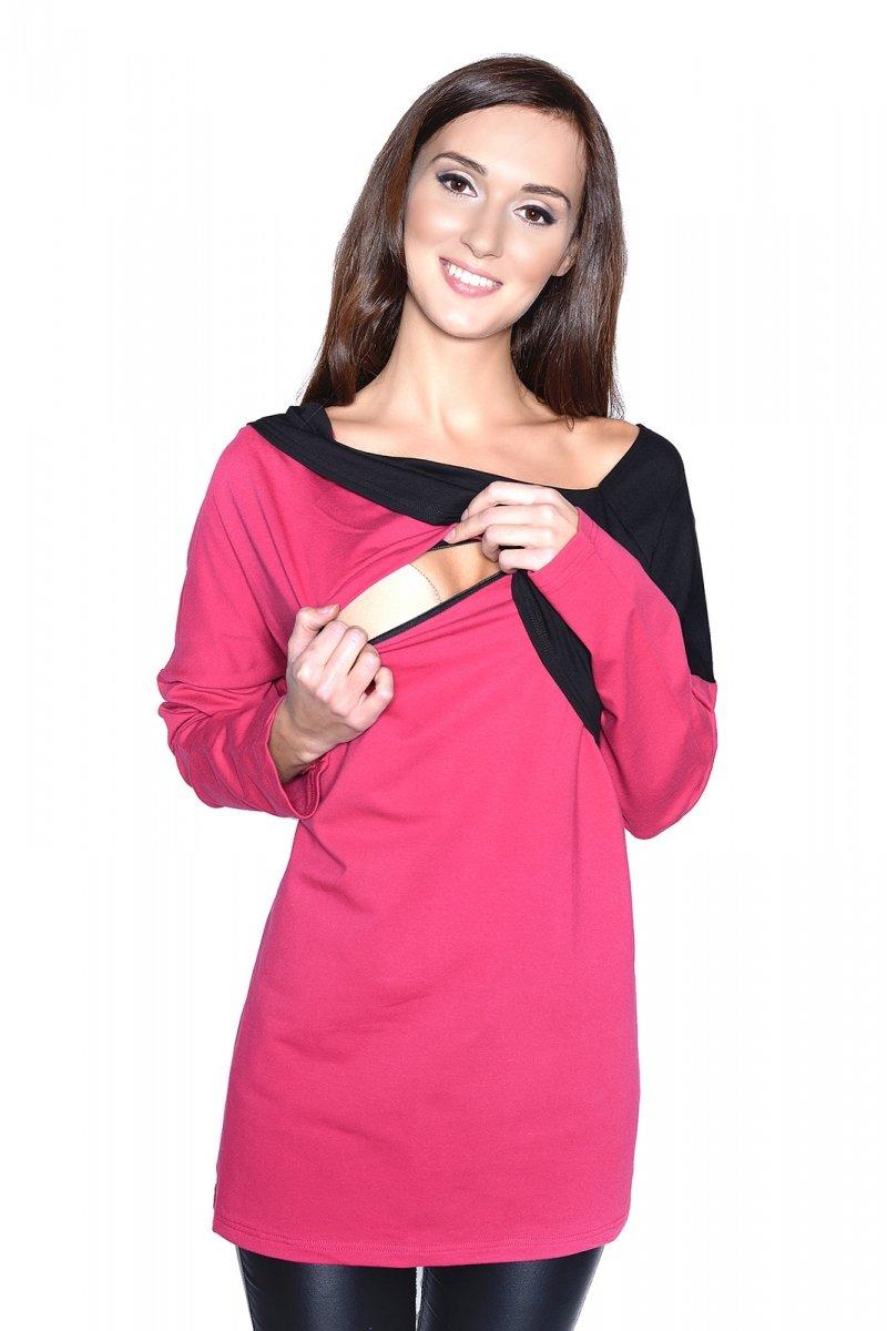 Bluzka ciążowa i do karmienia Ada 9061 dł. rękaw róż/czarny