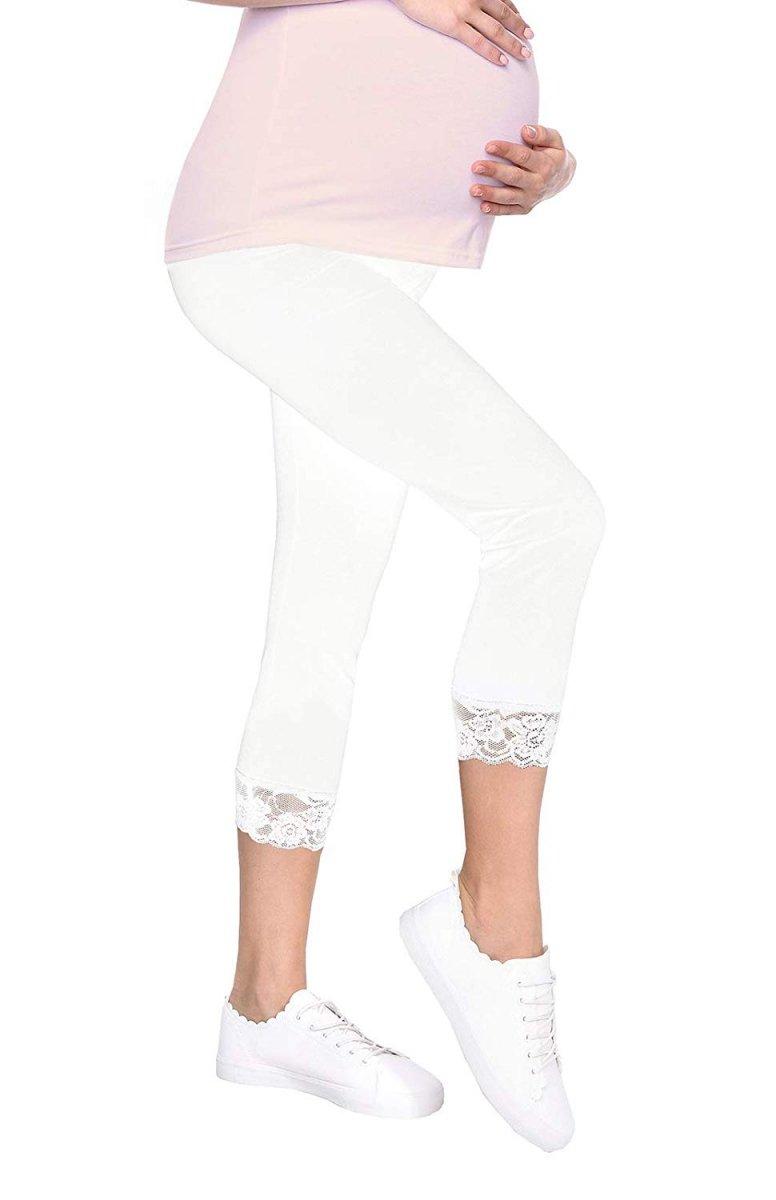 Komfortowe legginsy ciążowe 3/4 z koronką białe