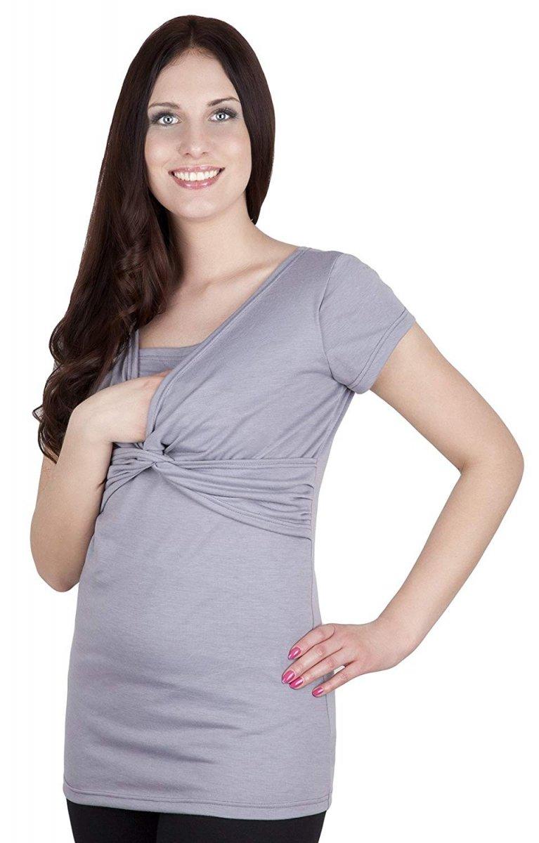 MijaCulture - bluzka z pętelką 2 w 1 ciążowa i do karmienia M18/4003 szary