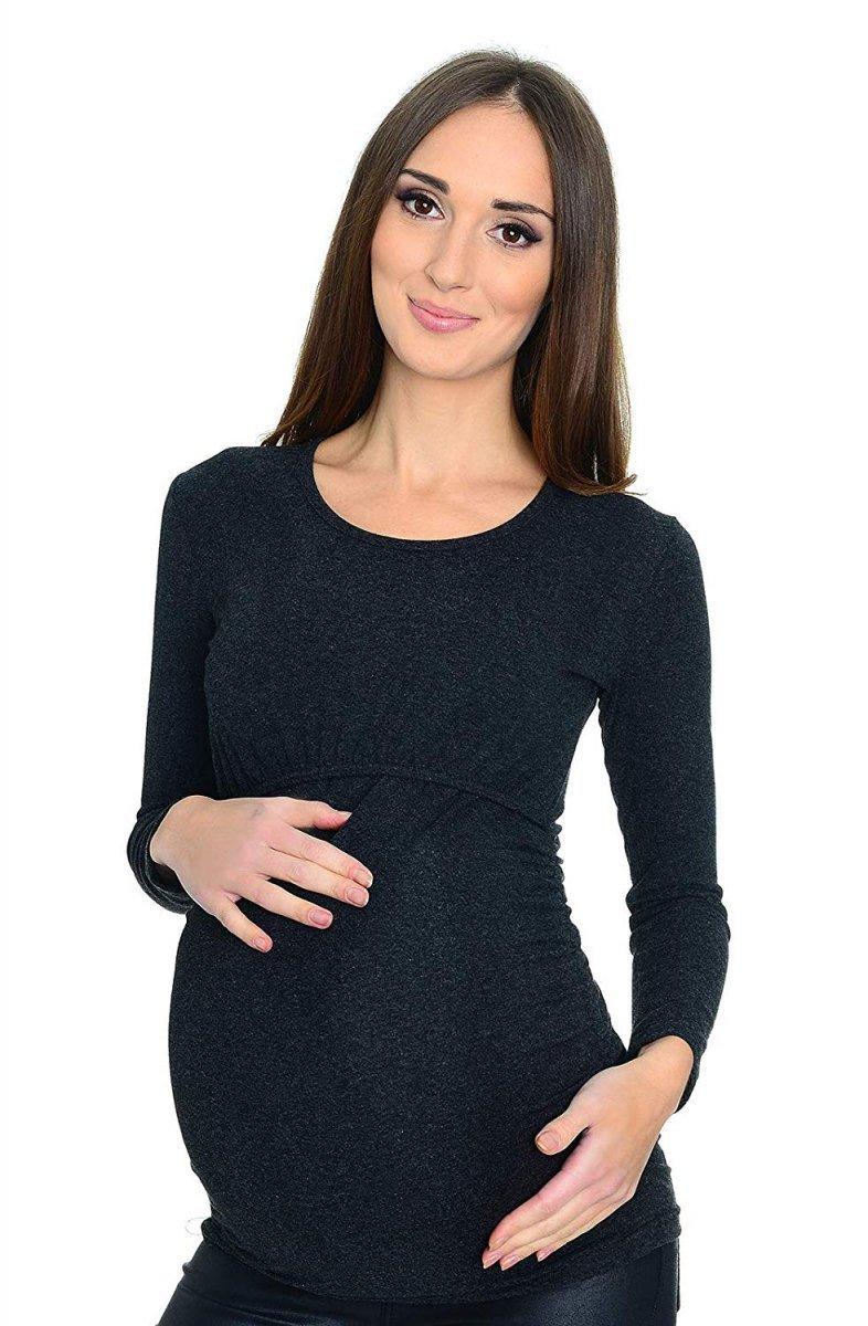MijaCulture - bluzka 2 w 1 ciążowa i do karmienia długi rękaw M01/3070 grafit