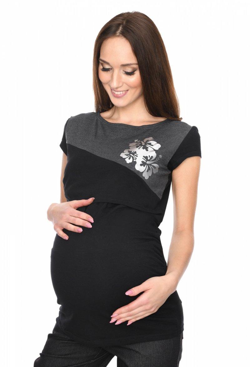 MijaCulture - urocza bluzka ciążowa i do karmienia Kwiaty 9093 czarna 1