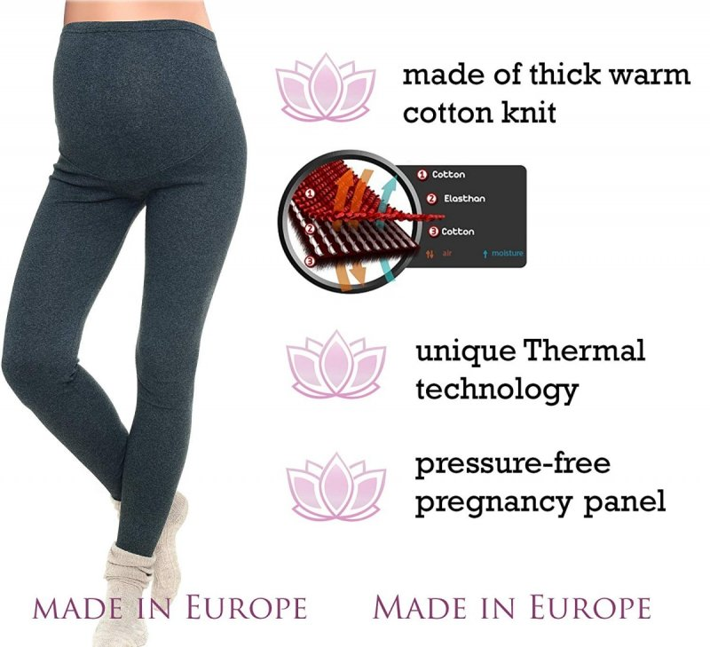Komfortowe legginsy ciążowe zimowe 3006 czarny