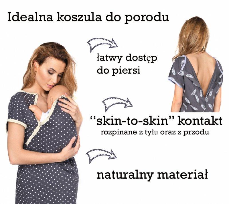 MijaCulture - koszula do porodu 4123 grafit/serduszka 5