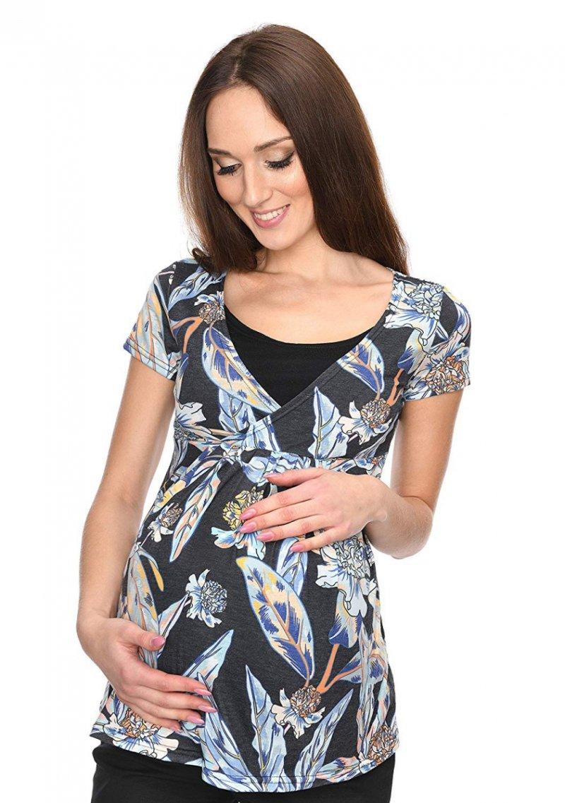 """MijaCulture - bluzka ciążowa 2 w 1 ciążowa i do karmienia krótki rękaw """" Dora"""" 7104 kwiaty"""