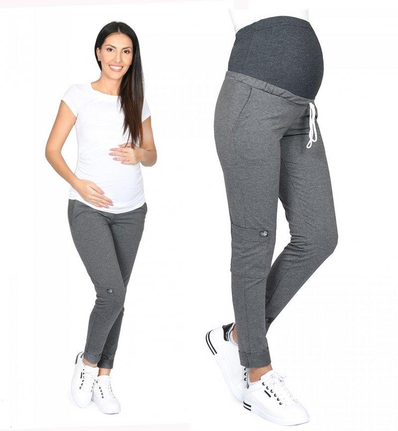 MijaCulture Wygodne spodnie dresowe ciążowe ZOE M002 grafit