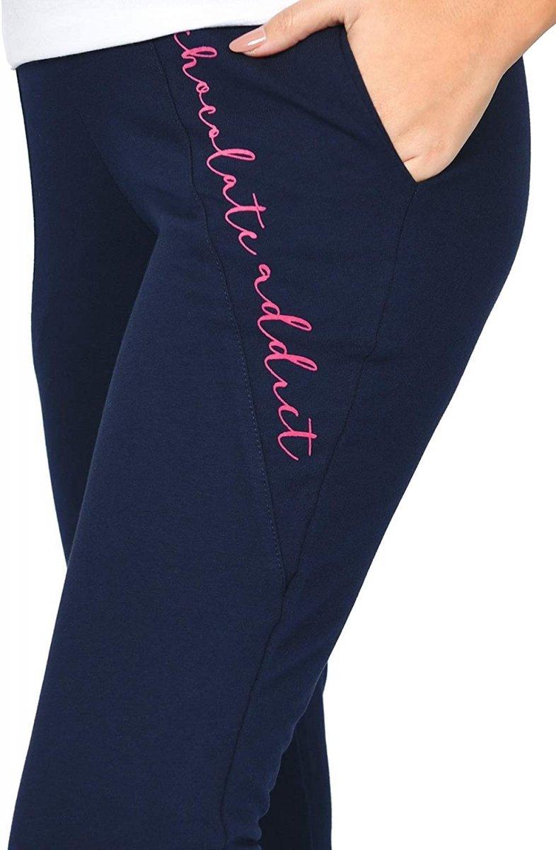 Wygodne ciążowe spodnie dresowe Chocolate Addict 9097 granat2