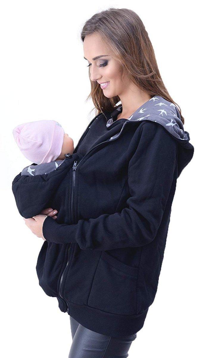 MijaCulture - 3 w1 bluza 3D ciążowa i do noszenia dziecka  4046/M50 czarny