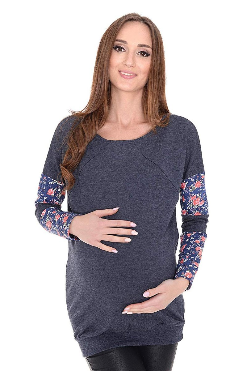 """MijaCulture - 3 w1 bluza ciążowa i do karmienia """"Zuza"""" 7140 grafit"""