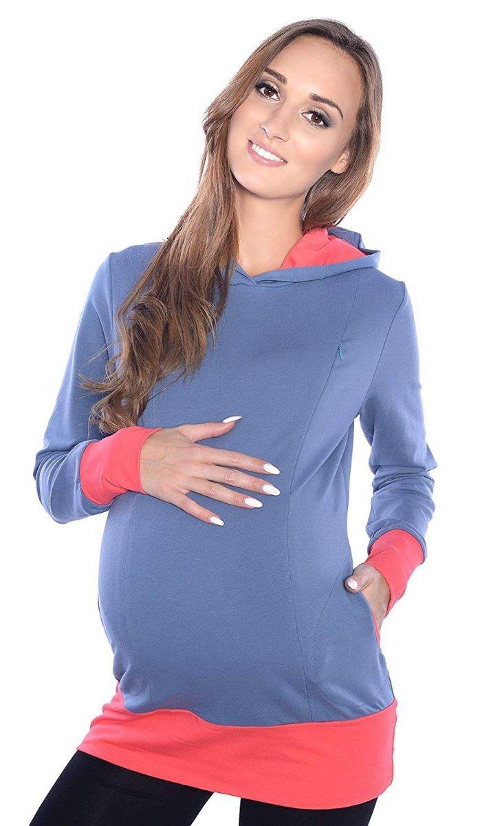 """MijaCulture – 3 w 1 bluza ciążowa i do karmienia """"Mona"""" 1035 jeans/morela"""