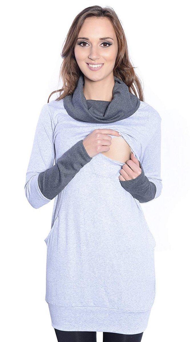 """MijaCulture - 3 w 1 bluza ciążowa i do karmienia """"Maddy"""" 7115 melanż/grafit"""