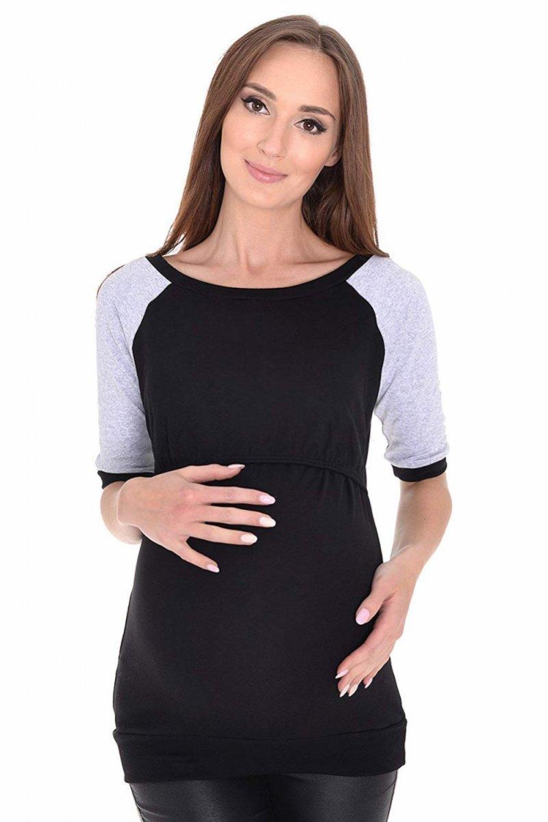 """MijaCulture - 3 w 1 bluzka ciążowa i do karmienia """"Suzi"""" 7141 czarny/szary"""