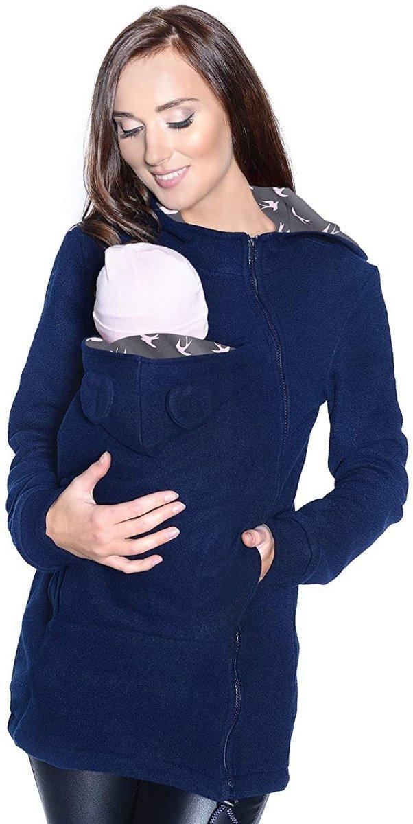 MijaCulture - polar do noszenia dziecka 3073A granat/ptaki2