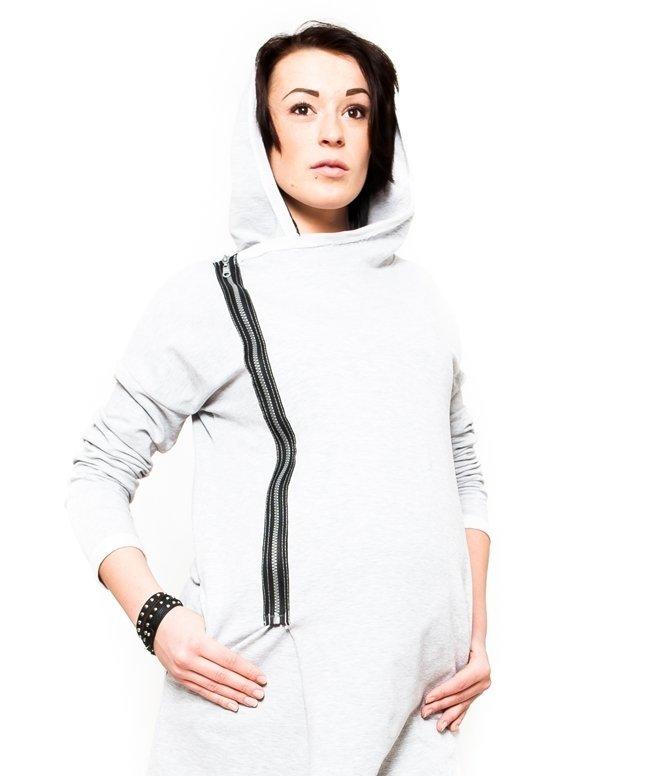 """MijaCulture - ciepła bluza ciążowa z kapturem """"Heaven"""" 9000 melanż1"""