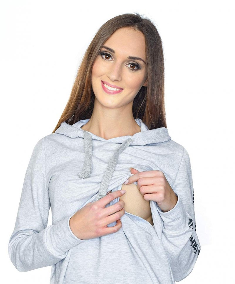 MijaCulture - 3 w 1 bluza ciążowa i do karmienia M68 4110 melanż
