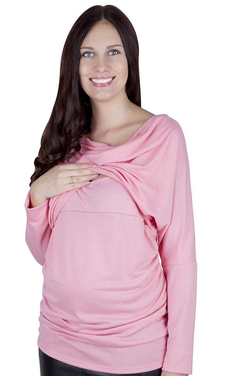 """MijaCulture - 2 w 1 bluzka kimono ciążowa i do karmienia """"Sofia"""" 7113 różowy"""