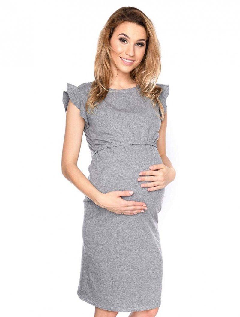 """MijaCulture - zjawiskowa sukienka 2 w 1 ciążowa i do karmienia """"Lia"""" szary"""