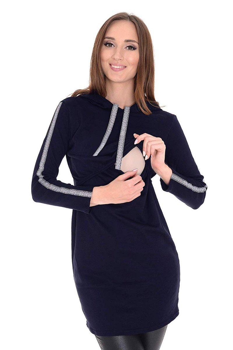 """MijaCulture - bluza 3 w 1 ciążowa i do karmienia z kapturem """"Melanie"""" 7136 ciemny granat"""