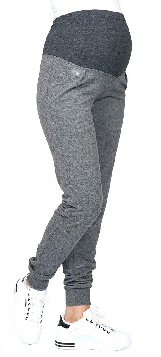 MijaCulture Wygodne spodnie dresowe ciążowe Coco M003 grafit1