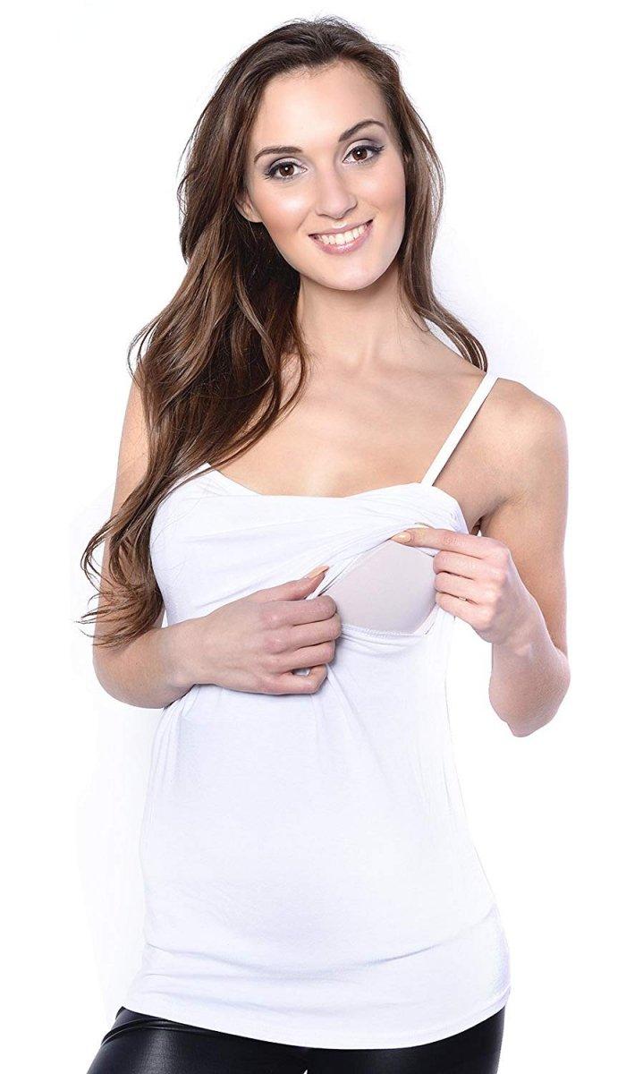 MijaCulture - top na ramiączkach 2 w 1 ciążowy i do karmienia 4029/M46 biały