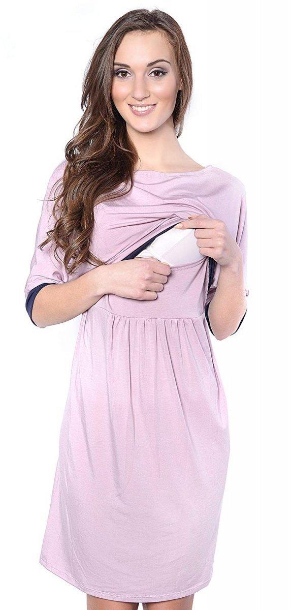 """MijaCulture - sukienka 2 w 1 ciążowa i do karmienia """"Daisy"""" 7131 różowa"""