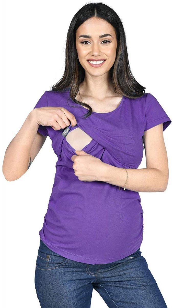 MijaCulture - bluzka 2 w 1 ciążowa i do karmienia krótki rękaw M03/3074 fiolet
