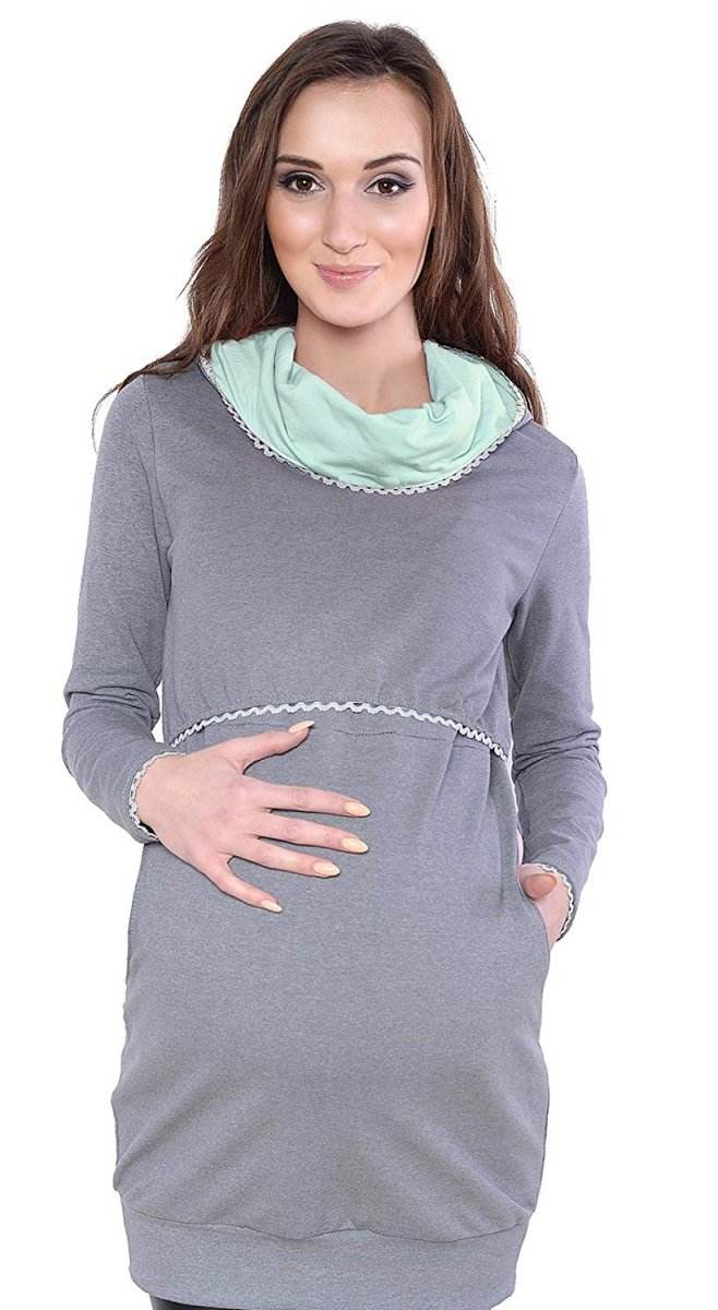"""MijaCulture - 3 w 1 bluza ciążowa i do karmienia """"Ellie"""" 7129 szary/mięta"""