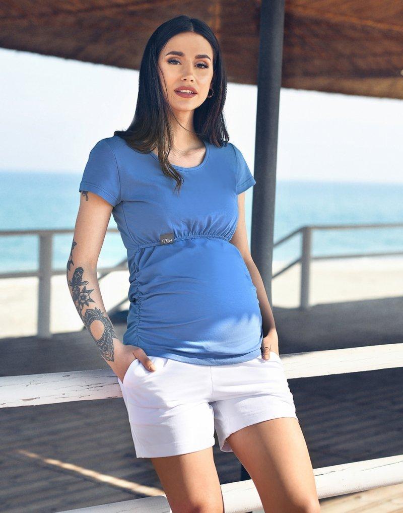 MijaCulture - bluzka 2 w 1 ciążowa i do karmienia krótki rękaw M03/3074 Mavi2
